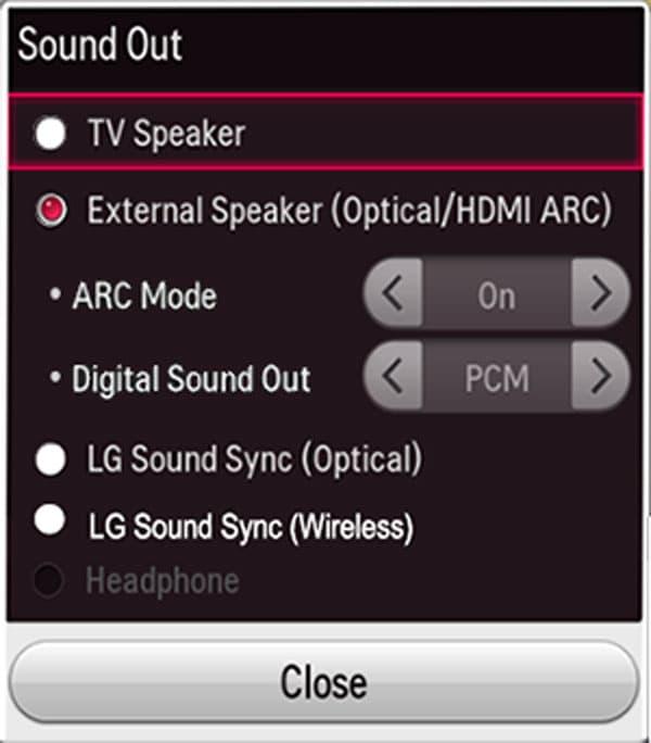 تنظیمات صدا در تلویزیون ال جی