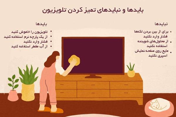 بایدها و نبایدهای تمیز کردن تلویزیون
