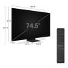 عکس کنترل و اندازه زوایای تلویزیون سامسونگ 75 اینچ مدل 75Q800T