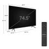 عکس کنترل و اندازه زوایای تلویزیون سامسونگ 75 اینچ مدل 75Q60T